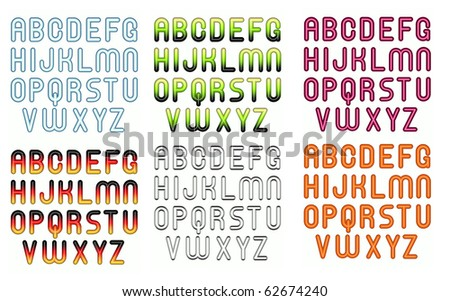 6 3d childish funny bubble font alphabet in different colors - stock photo