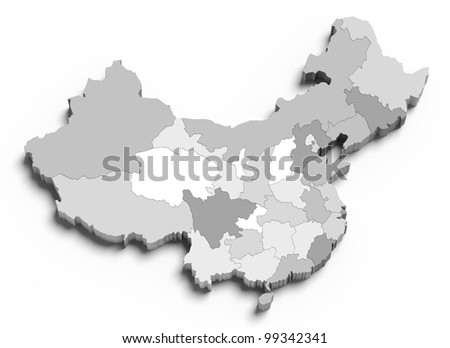 3d China grey map on white isolated