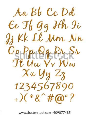 3D Chocolate alphabets with digit sign on isolated white background. - stock photo