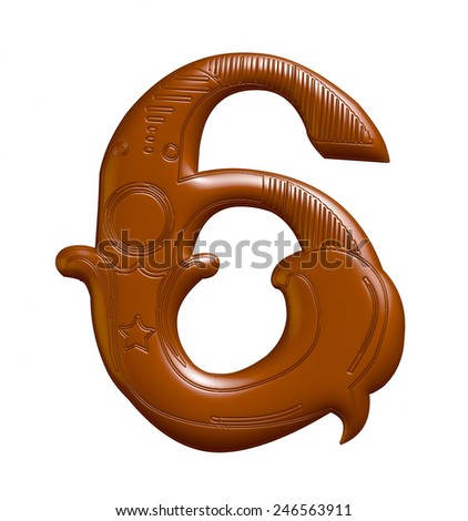 3D Chocolate Decorative number 6 on isolated white background.