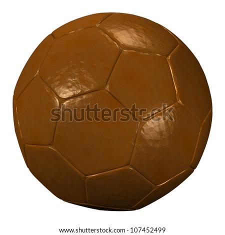 3D Chocolate soccer ball, isolated on white - stock photo