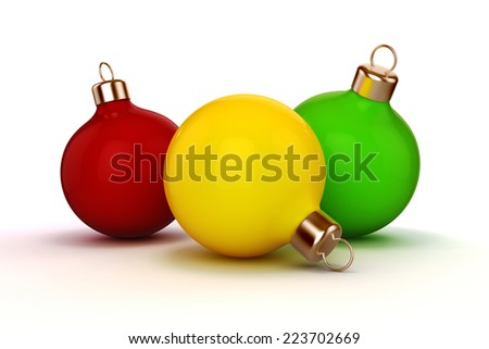 3d Christmas ball ornaments on white background - stock photo