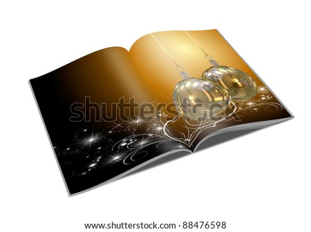 3D Christmas balls picture book - stock photo