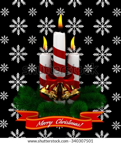 3D Christmas Burning candles with golden bells and sprigs of christmas tree isolated on black snow background - stock photo