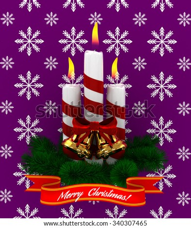 3D Christmas Burning candles with golden bells and sprigs of christmas tree isolated on purple snow background - stock photo