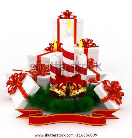 3D Christmas Burning candles with golden bells, white gifts and sprigs of christmas tree isolated on white - stock photo
