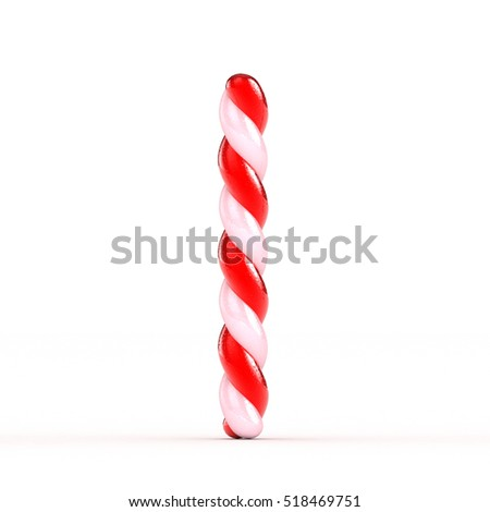 3D Christmas candy alphabet isolated