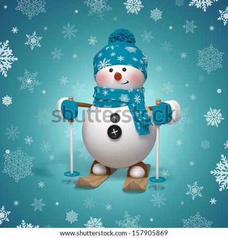 3d Christmas cartoon character, skiing snowman - stock photo