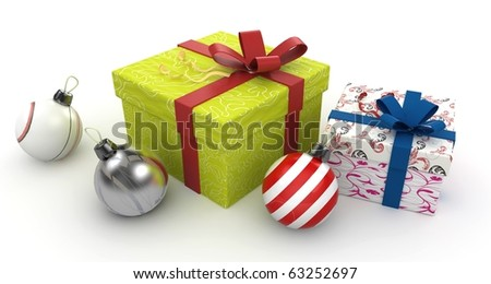 3d christmas gift boxes isolated on white