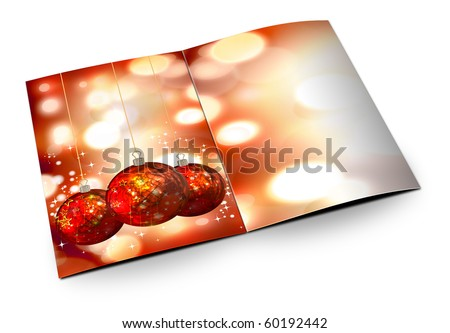 3D christmas postcards on a white background - stock photo