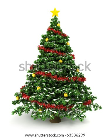 3d Christmas tree - stock photo