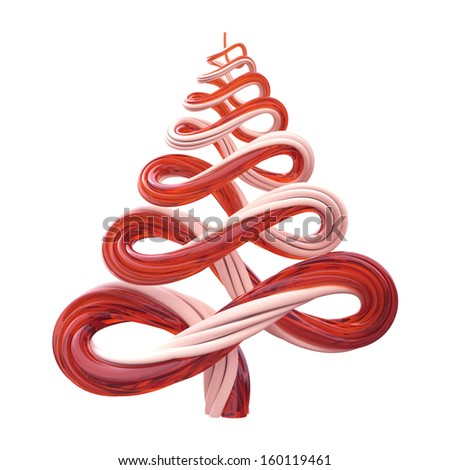 3d Christmas tree candy cane lines isolated on white background - stock photo