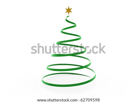 3d christmas tree green gold star isolated on white background - stock photo