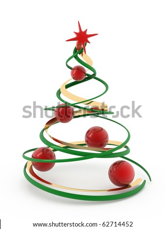 3D christmas tree isolated on white. - stock photo