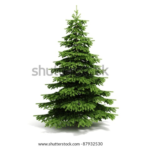 3d Christmas tree ready to decorate - on white background - stock photo