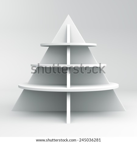 3D Christmas tree shelves and shelf design, front view object - stock photo