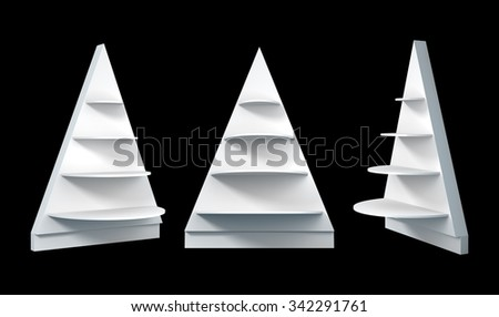 3D Christmas tree shelves and shelf design, object isolated