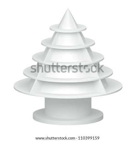 3D Christmas tree shelves and shelf design on a white background. isolated - stock photo