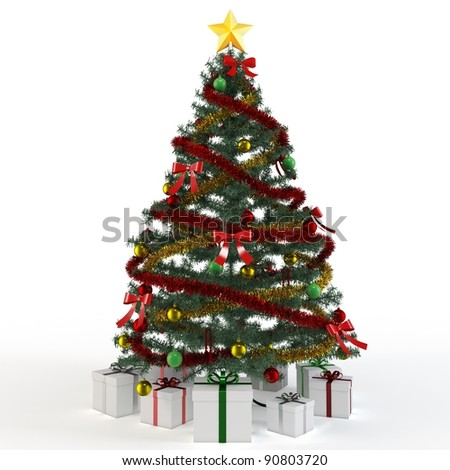 3d Christmas tree with gift boxes on white background