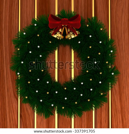 3D Christmas wreath with red bow, christmas balls and jingle bells isolated on wood background with golden stripes - stock photo