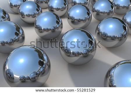 3D chrome ball - stock photo