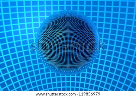 3D Chrome Ball in Blue Lines - stock photo
