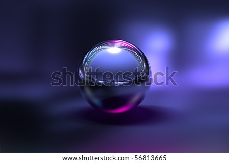 3D Chrome Ball in Purple Background - stock photo
