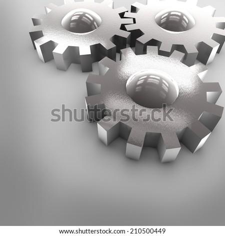 3D Chrome Gears - stock photo