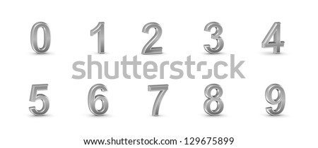 3D chrome numbers set.