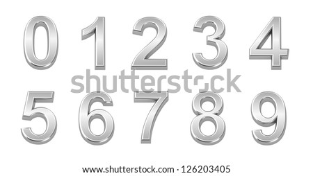 3D chrome numbers set from 0 to 9 - stock photo