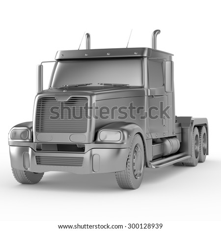 3d chrome truck isolated on white background