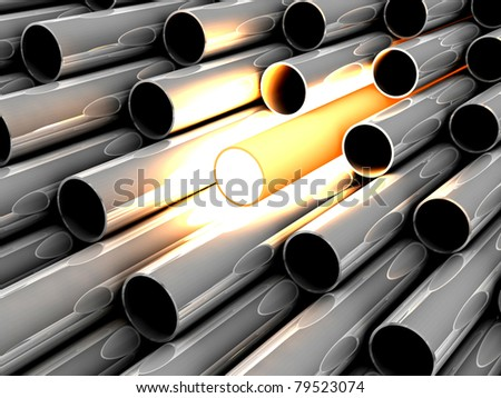 3D chrome tubes with overheated tube. Concept - the best. - stock photo