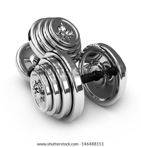 3D chrome Weights dumb-bells, isolated on white background - stock photo