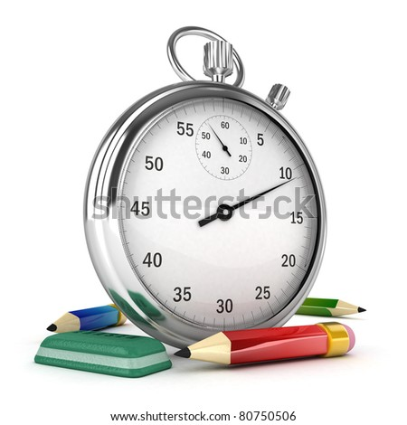 3D Chronometer with pen and eraser isolated - stock photo