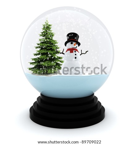 3d Chrystmas dome, on white background - stock photo