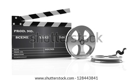 3d cinema clapboard and film on white background - stock photo
