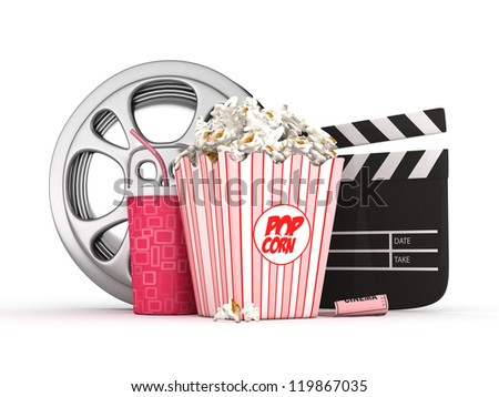 3D cinema concept-Film reel,Popcorn,Clapper and drink object-isolated - stock photo