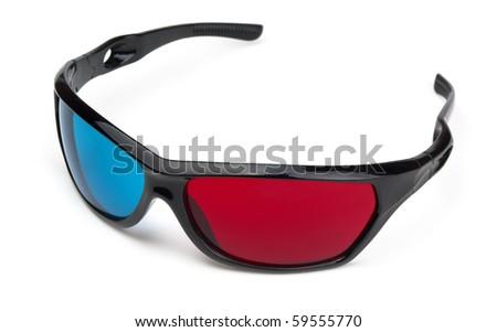 3d cinema glasses isolated on white - stock photo