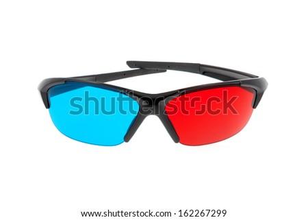 3d cinema glasses - isolated on white background - stock photo
