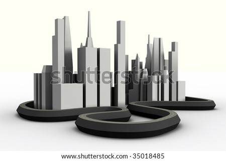 3d city, abstract small city, city with highways, model of a city, city skyline, 3d metropolis, mega-city model, cityscape model, low view of a 3d city, concept city - stock photo