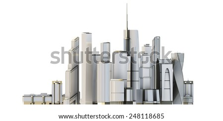 3d city isolated on white bacground. 3d render image. - stock photo