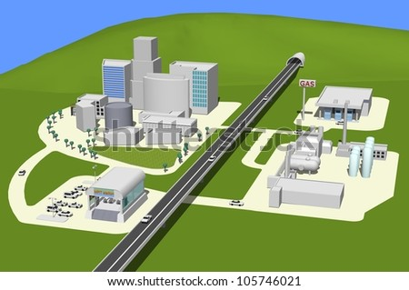 3D city landscape with buildings, highway, MRT and gas station. - stock photo