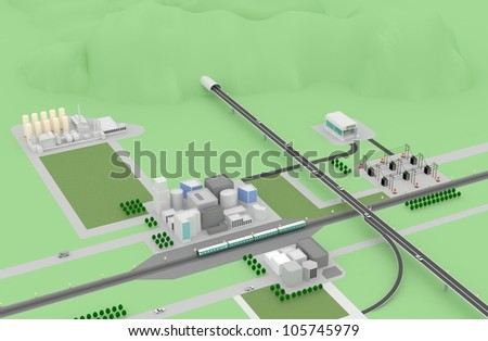 3D city landscape with buildings, highway, MRT and power station. - stock photo