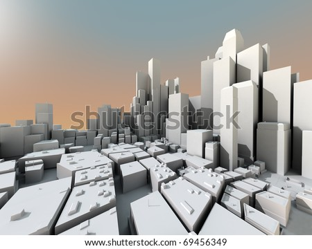 3D city landscape with skyscrapers and sunset light - stock photo