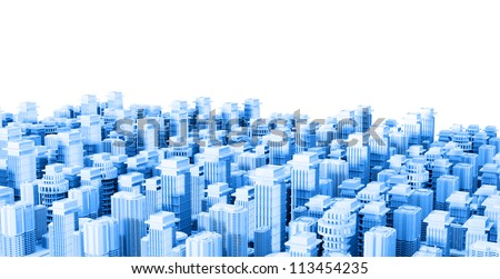 3d city model - stock photo