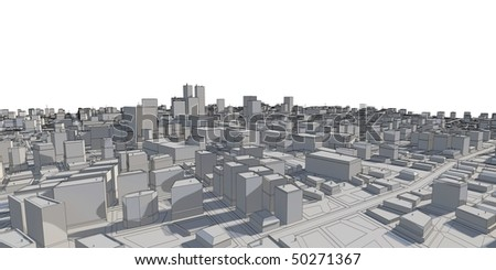 3D city panorama - sketch version - stock photo