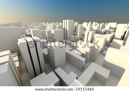 3d city skyline - stock photo