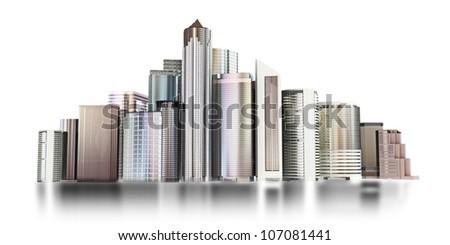 3d city skyline on a white background. - stock photo
