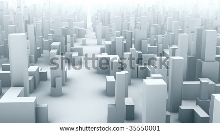 3D city, symbolic buildings, footage  available also - stock photo