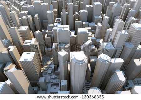 3d city - view from above - stock photo